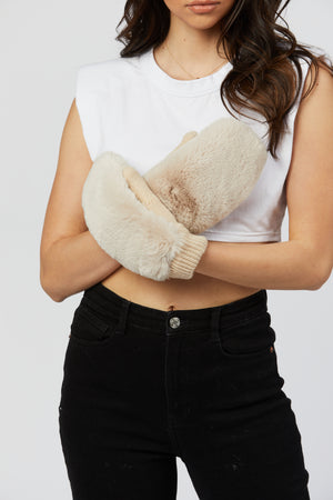 Faux Fur Gloves - Cream