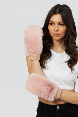 Faux Fur Gloves - Pink