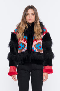 Shaci viola mongolian fur jacket