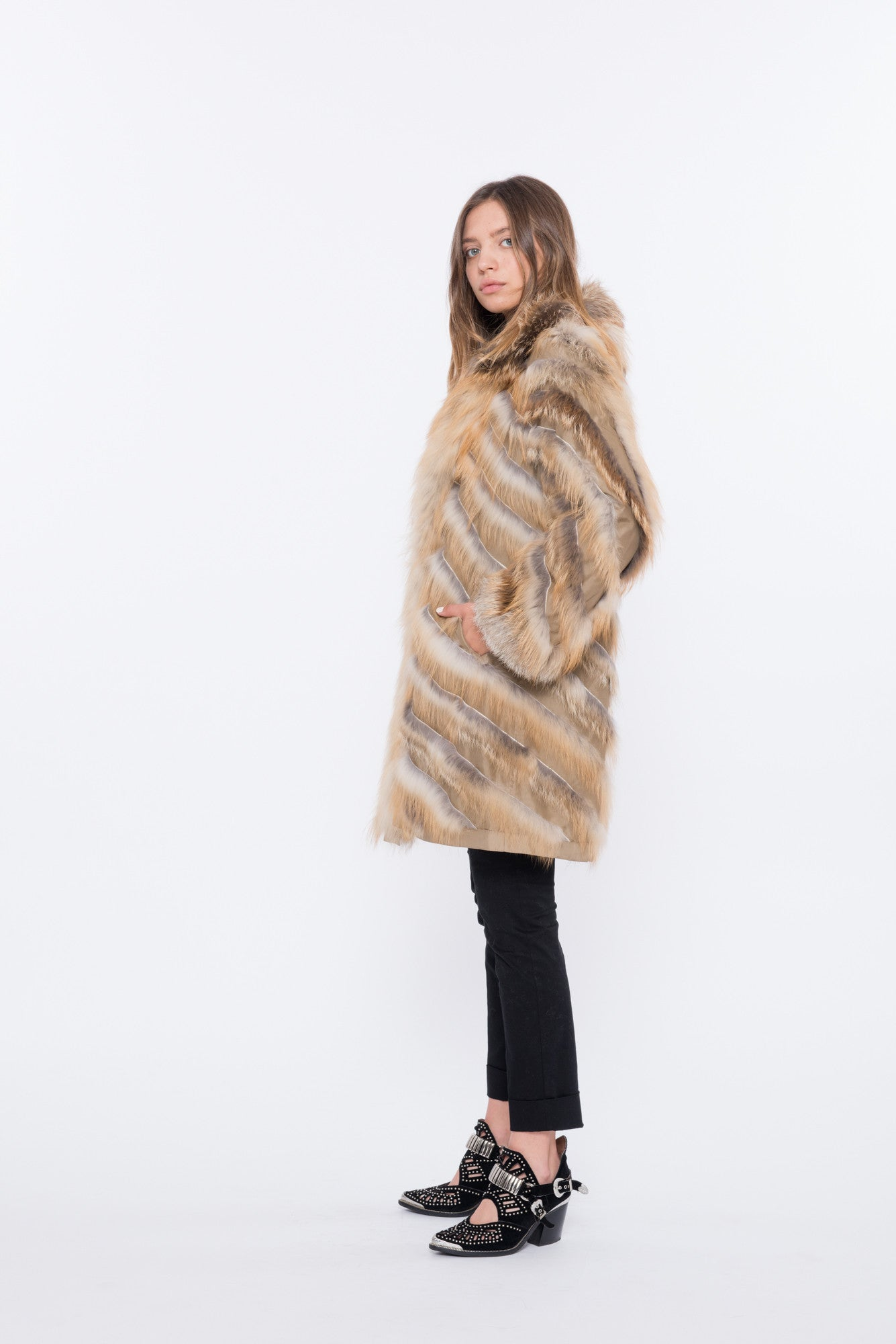 shaci lusso 90 reversible red fox fur jacket