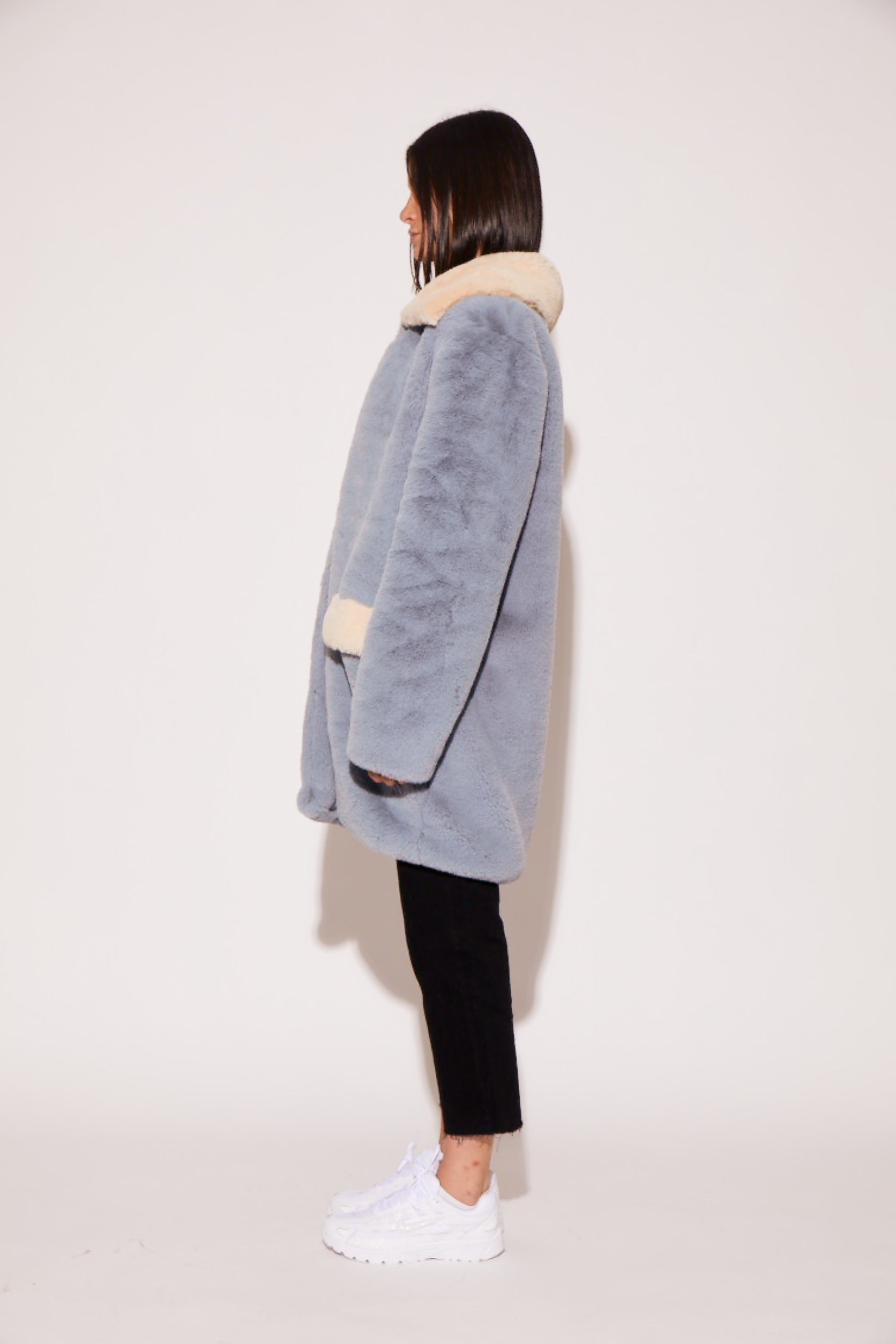 shaci baby blue faux fur coat