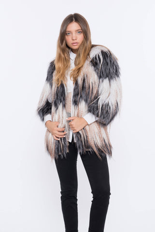 shaci baiser grey fox fur jacket