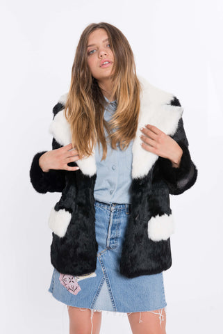 shaci bloccato black fur coat