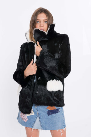 shaci bloccato black rabbit fur jacket
