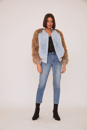 shaci bronx baby blue faux fur bomber jacket