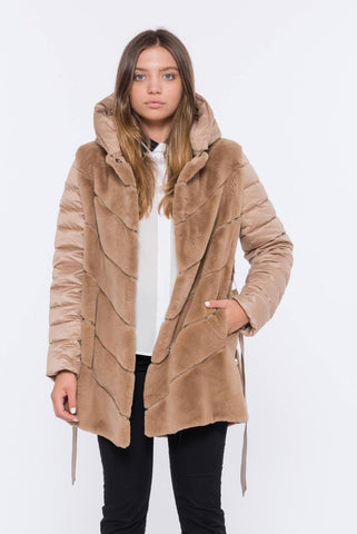 shaci cammello beige chinchilla coat