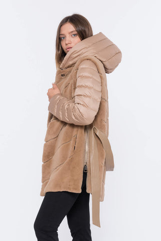 shaci cammello reversible fur coat