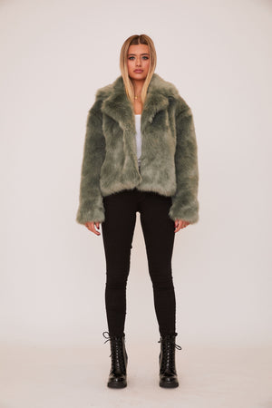 shaci cannes mint teal faux fur jacket