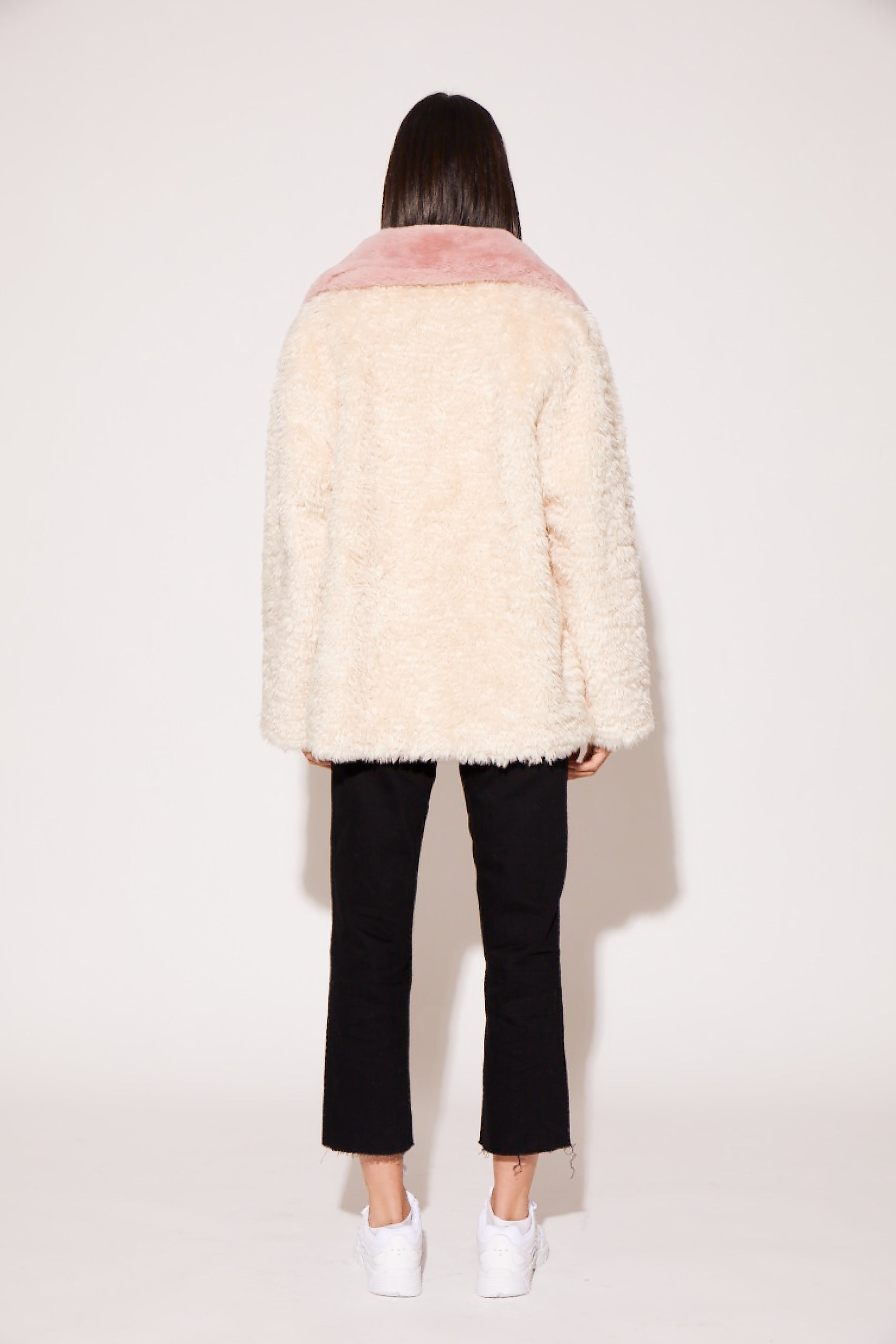 shaci cherry blossom faux fur jacket