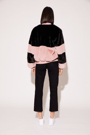 shaci faux fur colorblock bomber jacket black pink