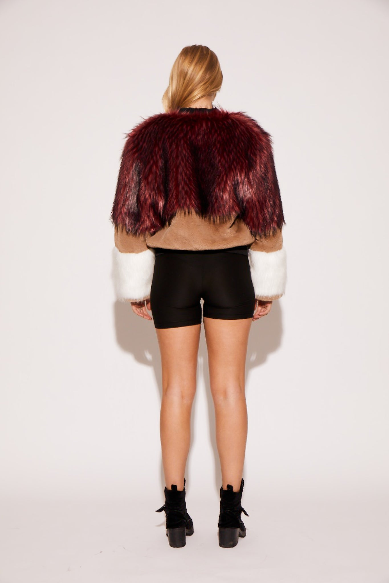 shaci faux fur colorblock bomber jacket burgundy cream