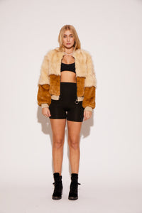 shaci faux fur colorblock bomber jacket cream brown