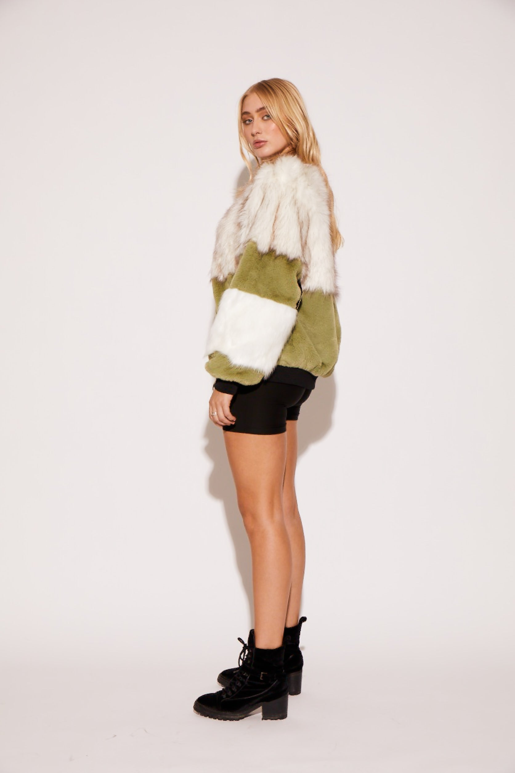 shaci faux fur colorblock bomber jacket green white