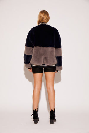 shaci faux fur colorblock bomber jacket navy grey