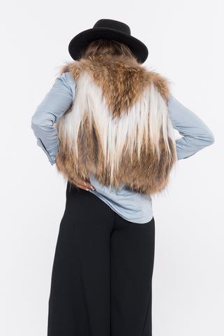 shaci black fur vest