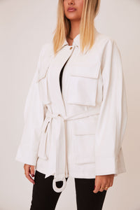 shaci costes white vegan leather coat