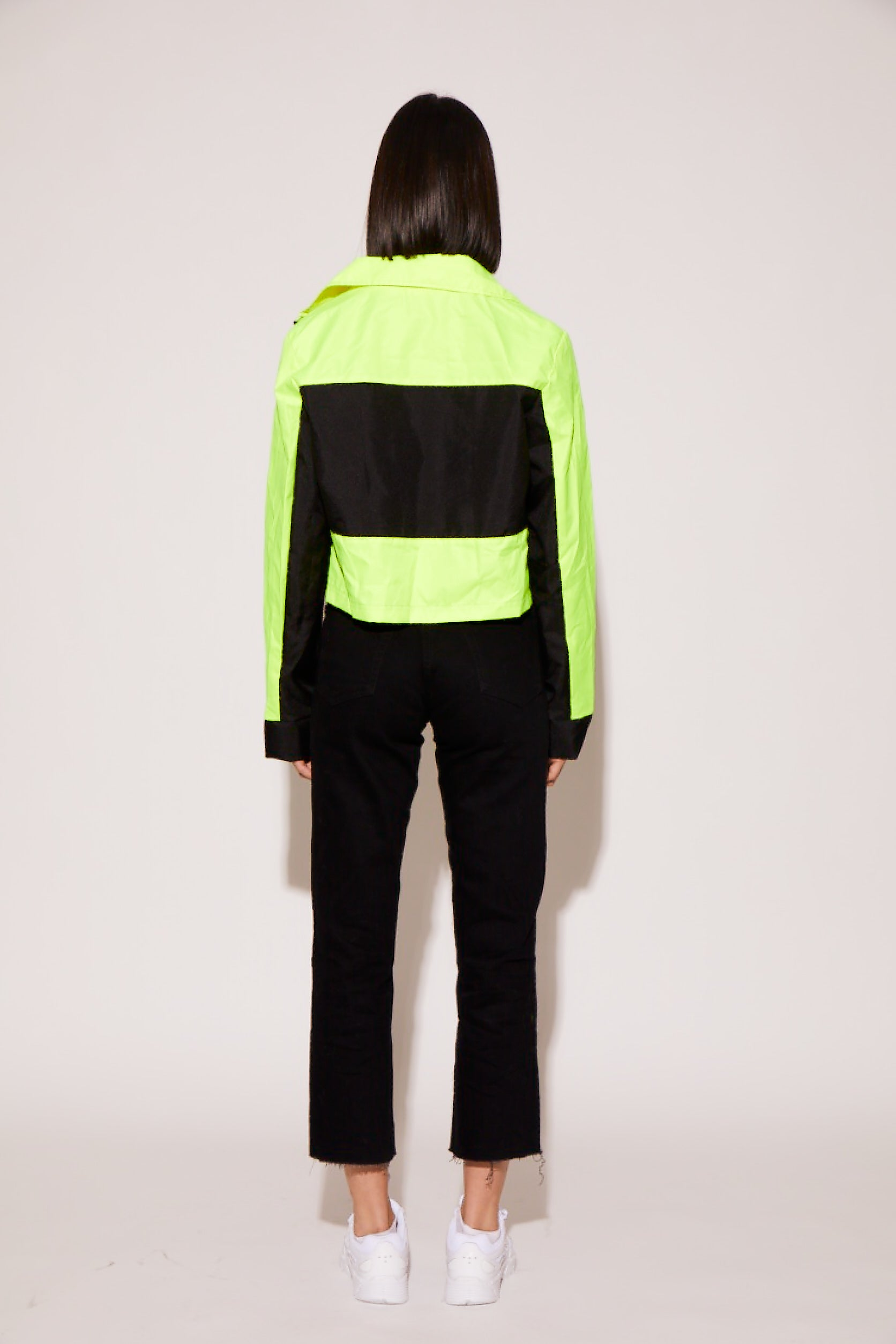shaci neon cropped utility jacket