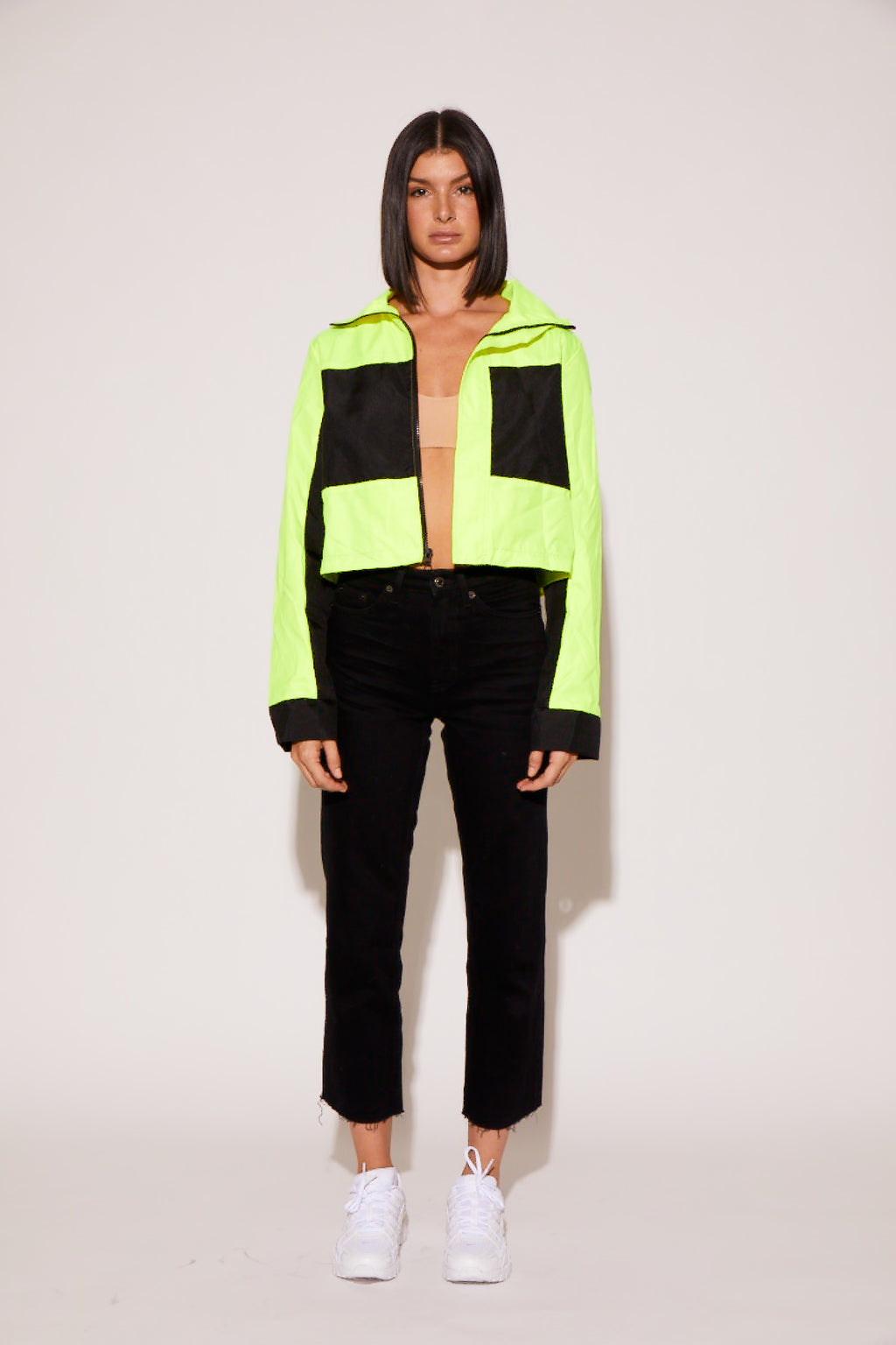 shaci neon black cropped utility jacket