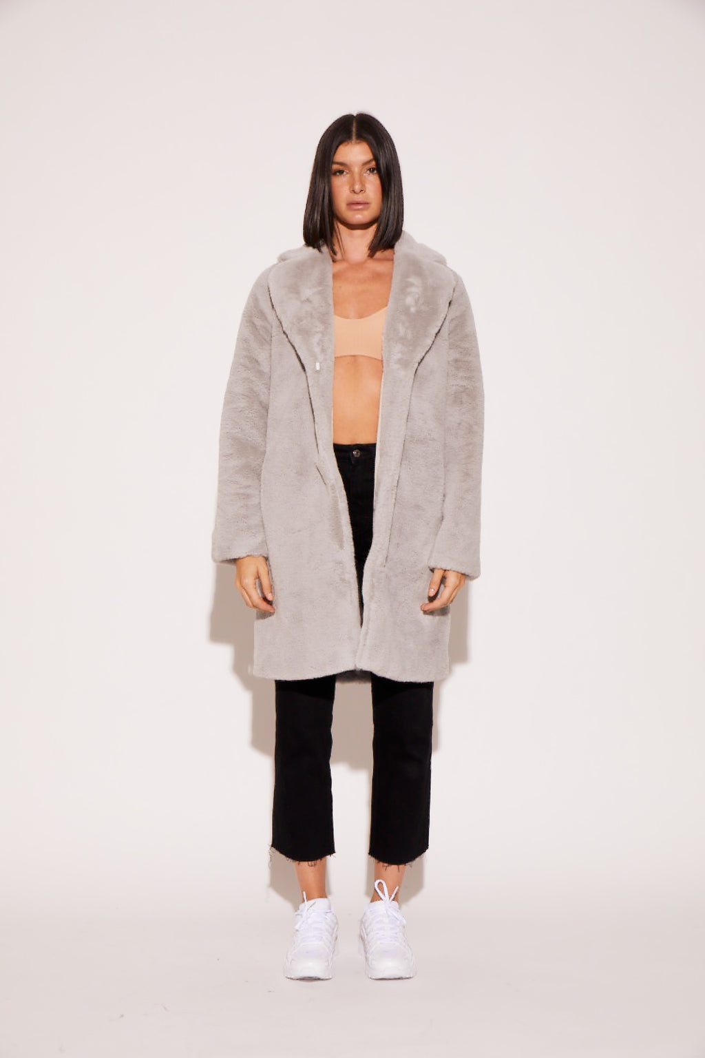 graphite blue faux fur coat