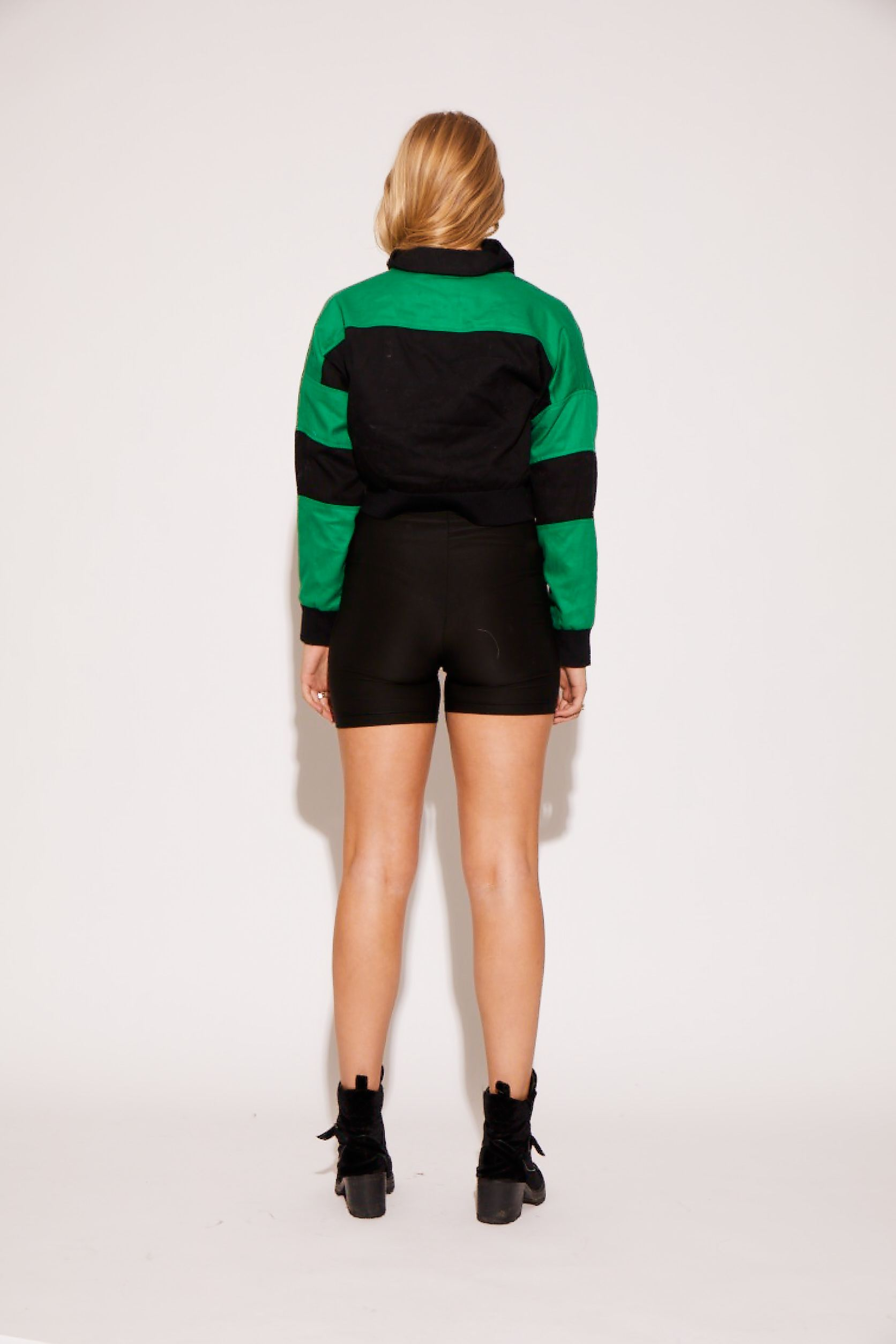 shaci-cropped-green-black-colorblock-denim-jean-jacket