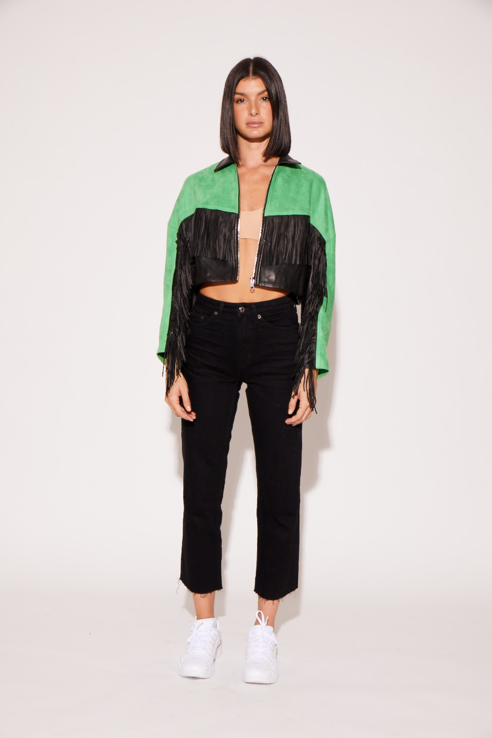 shaci green fringe jacket