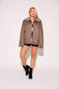 SHACI grey vegan suede coat