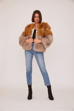 shaci monaco faux fur coat brown grey