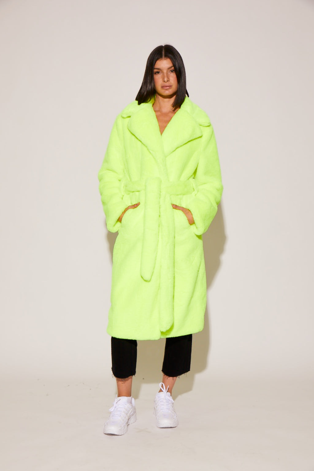 shaci neon faux fur coat vegan