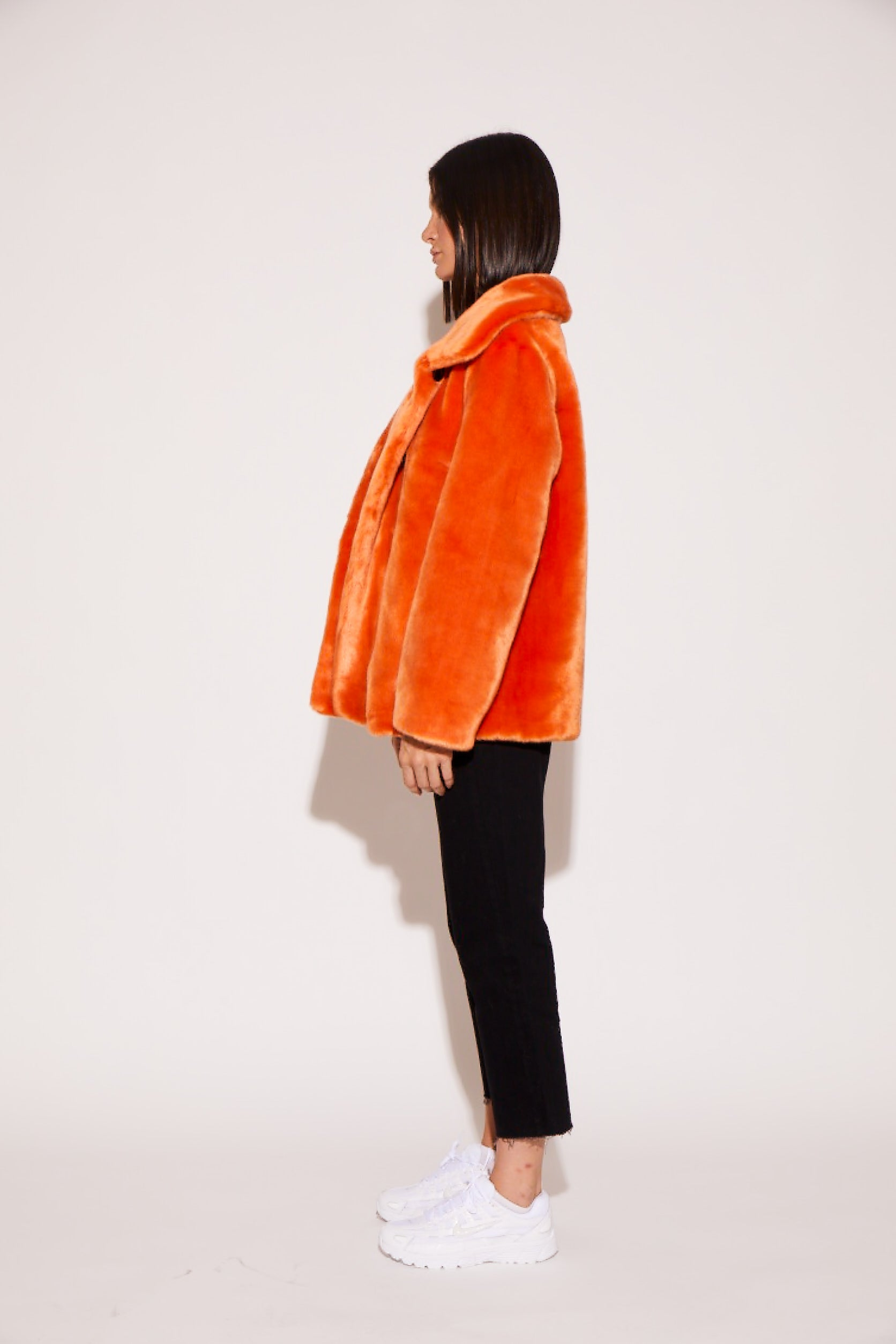 shaci neon orange faux fur jacket