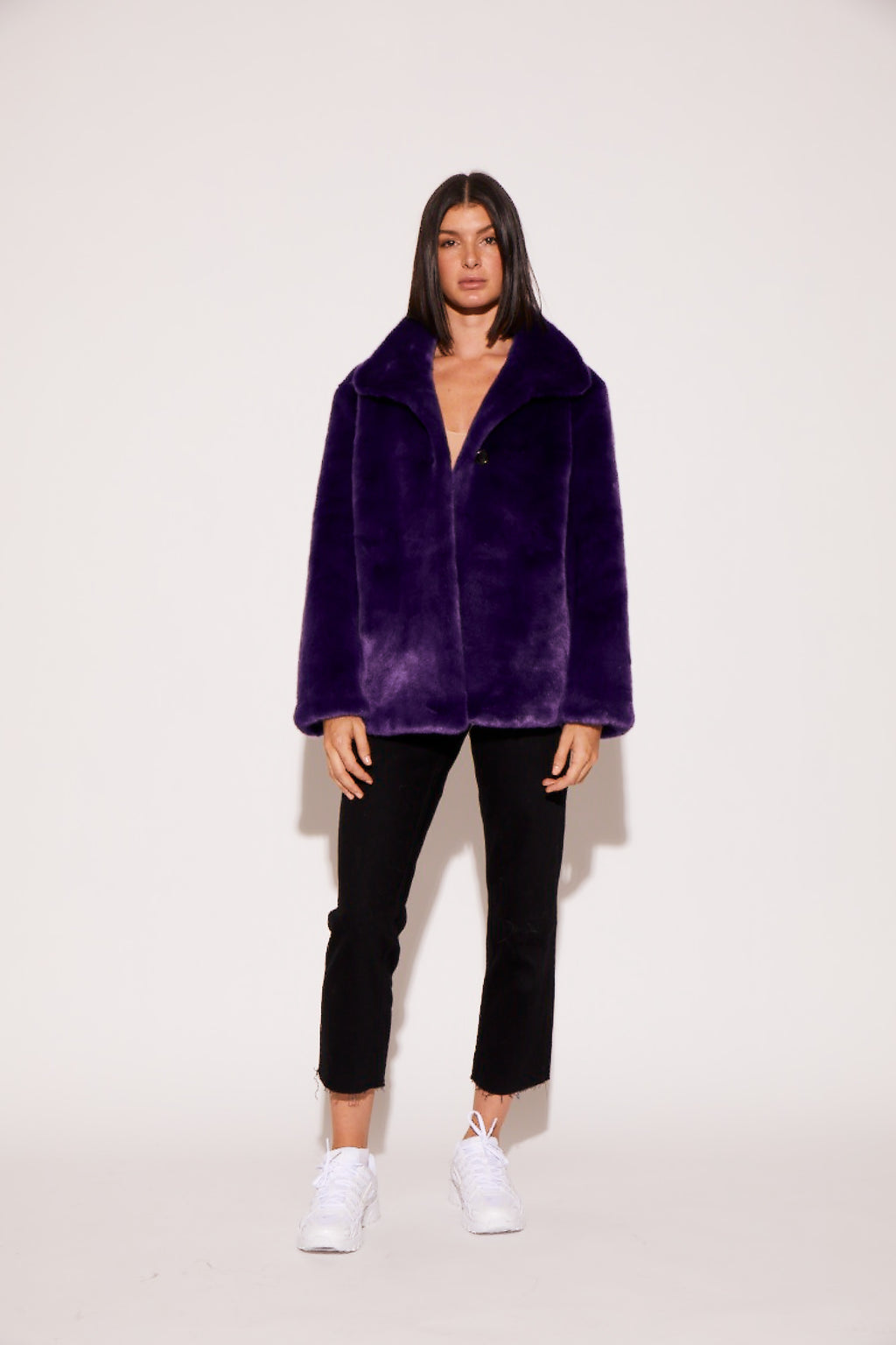 shaci neon purple faux fur jacket
