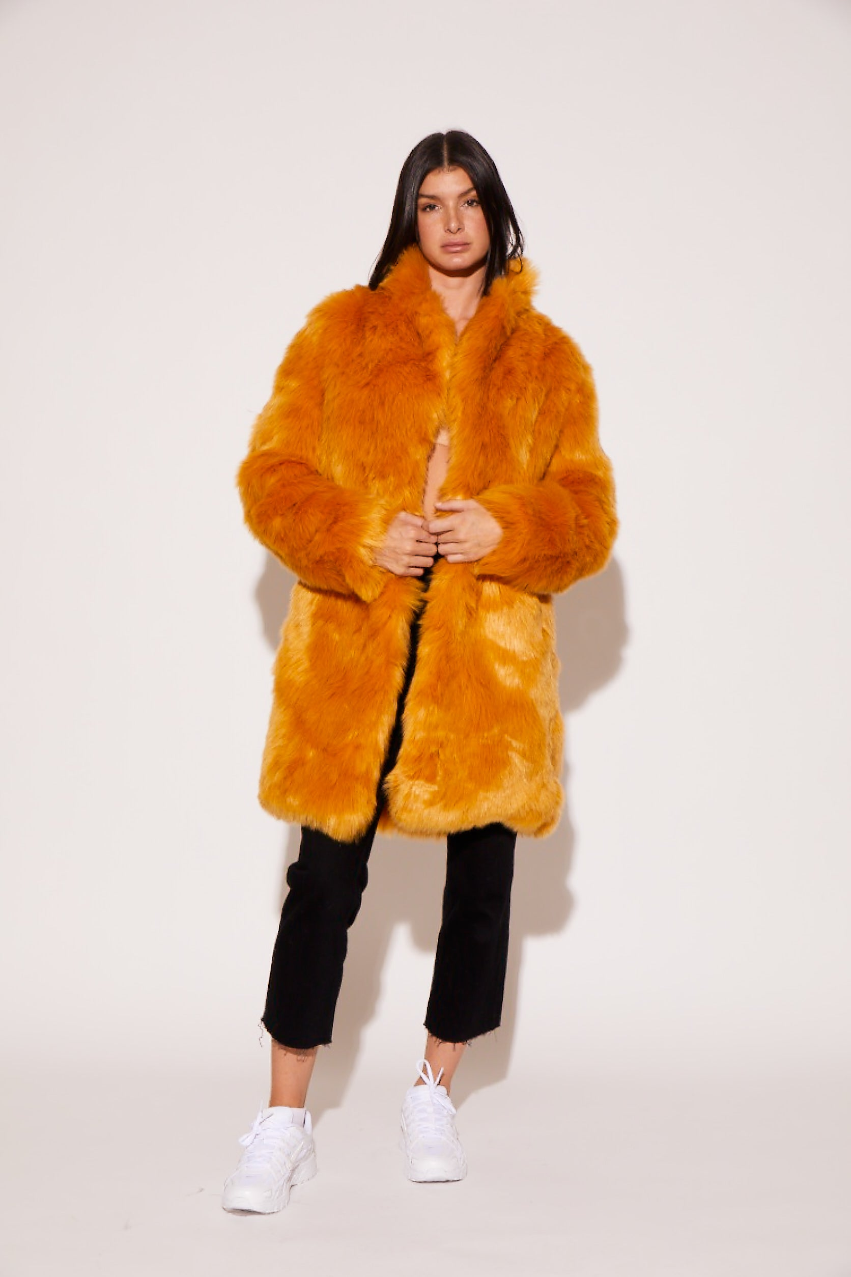shaci neon tangerine vegan faux fur coat