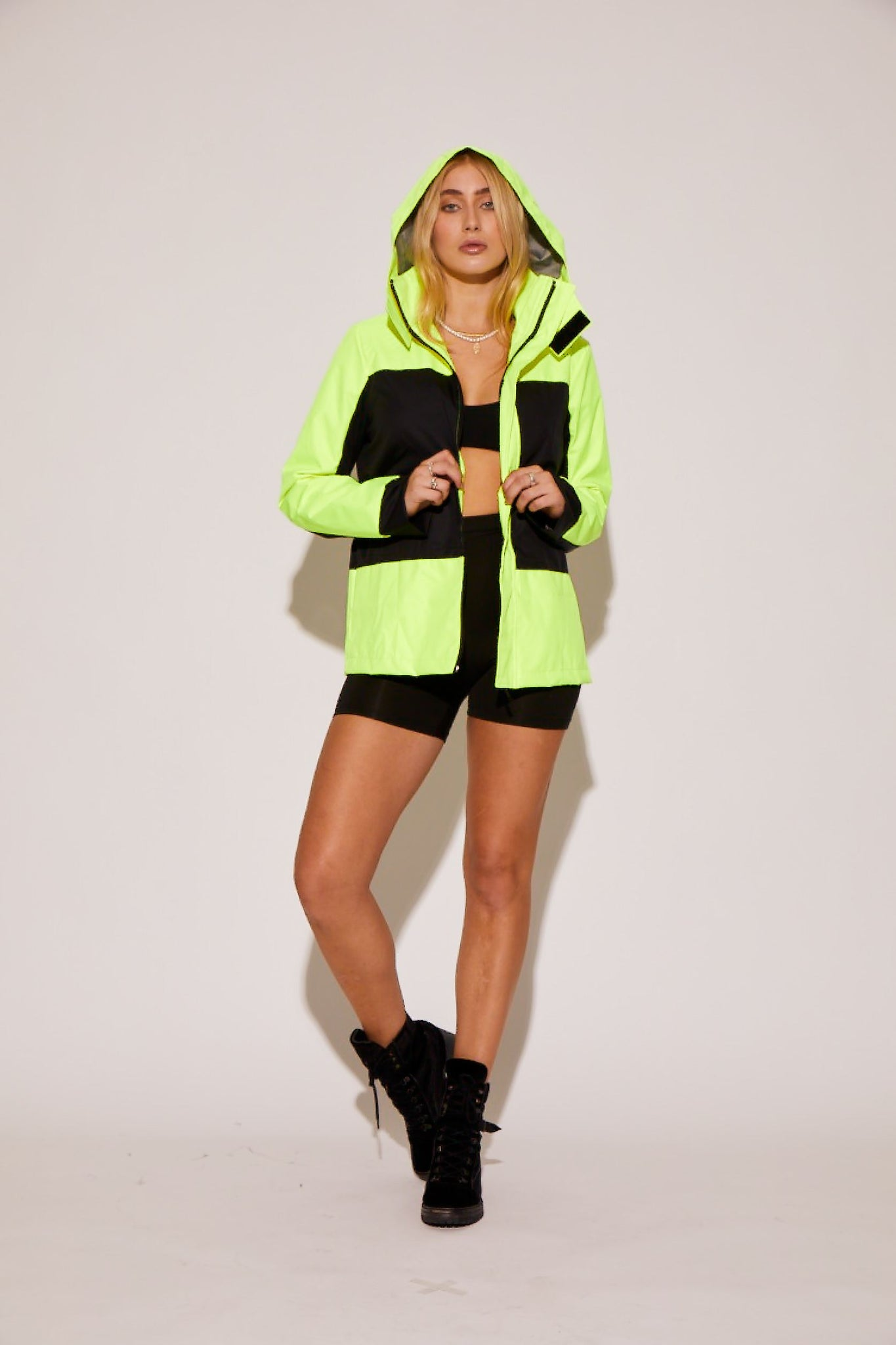 shaci neon black utility jacket