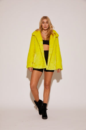 shaci neon yellow faux fur jacket