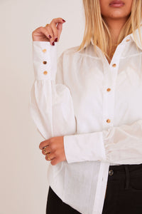 shaci nora button down shirt white