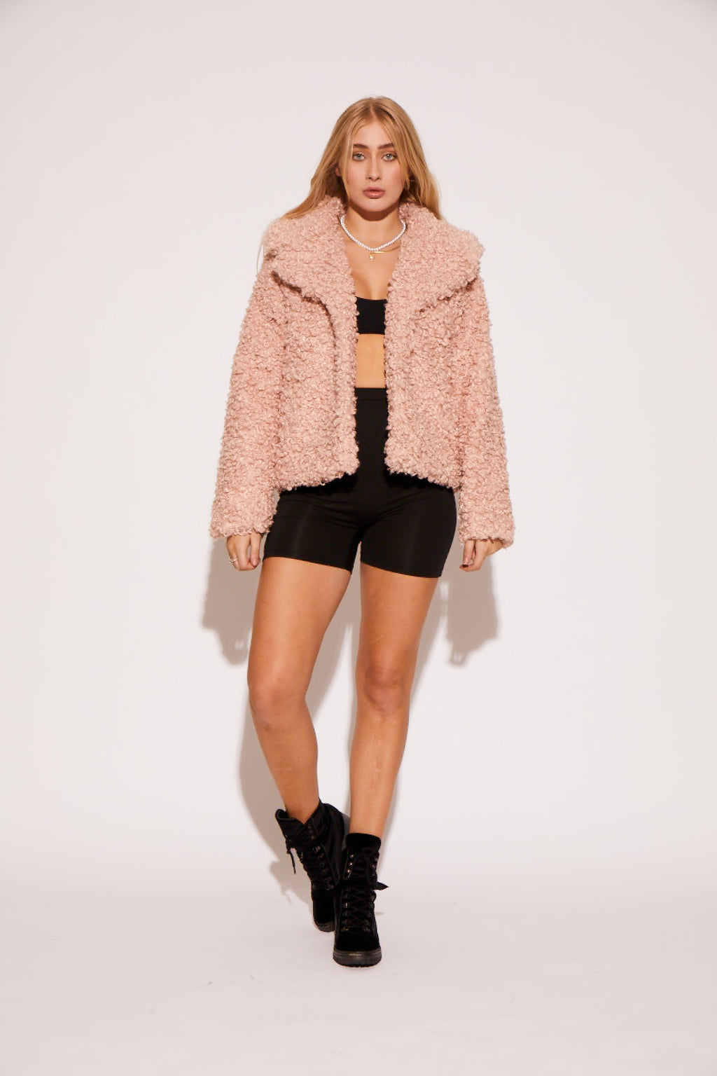 shaci orchid pink faux fur jacket