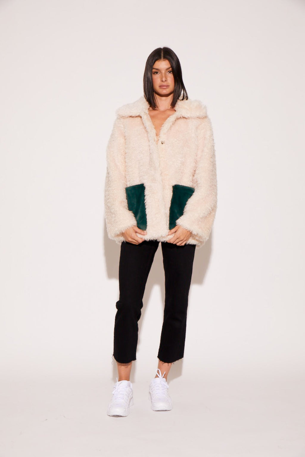 shaci pinot faux fur jacket pockets cream alpine green