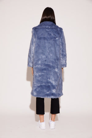 shaci powder blue faux fur coat