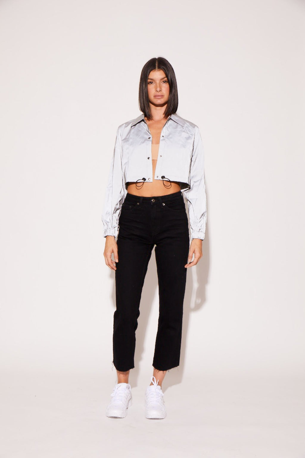 shaci-cropped-reflector-button-up-jacket