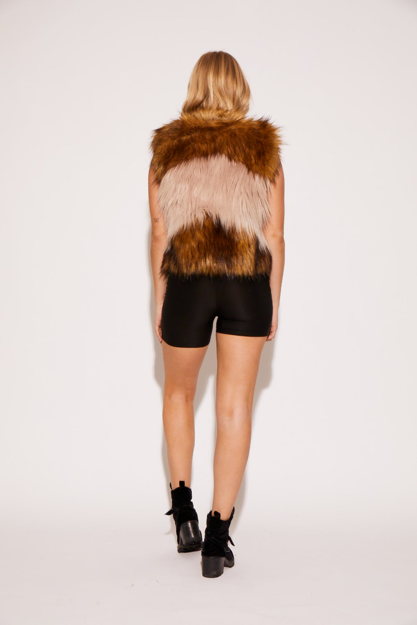 shaci rose brown faux fur vest