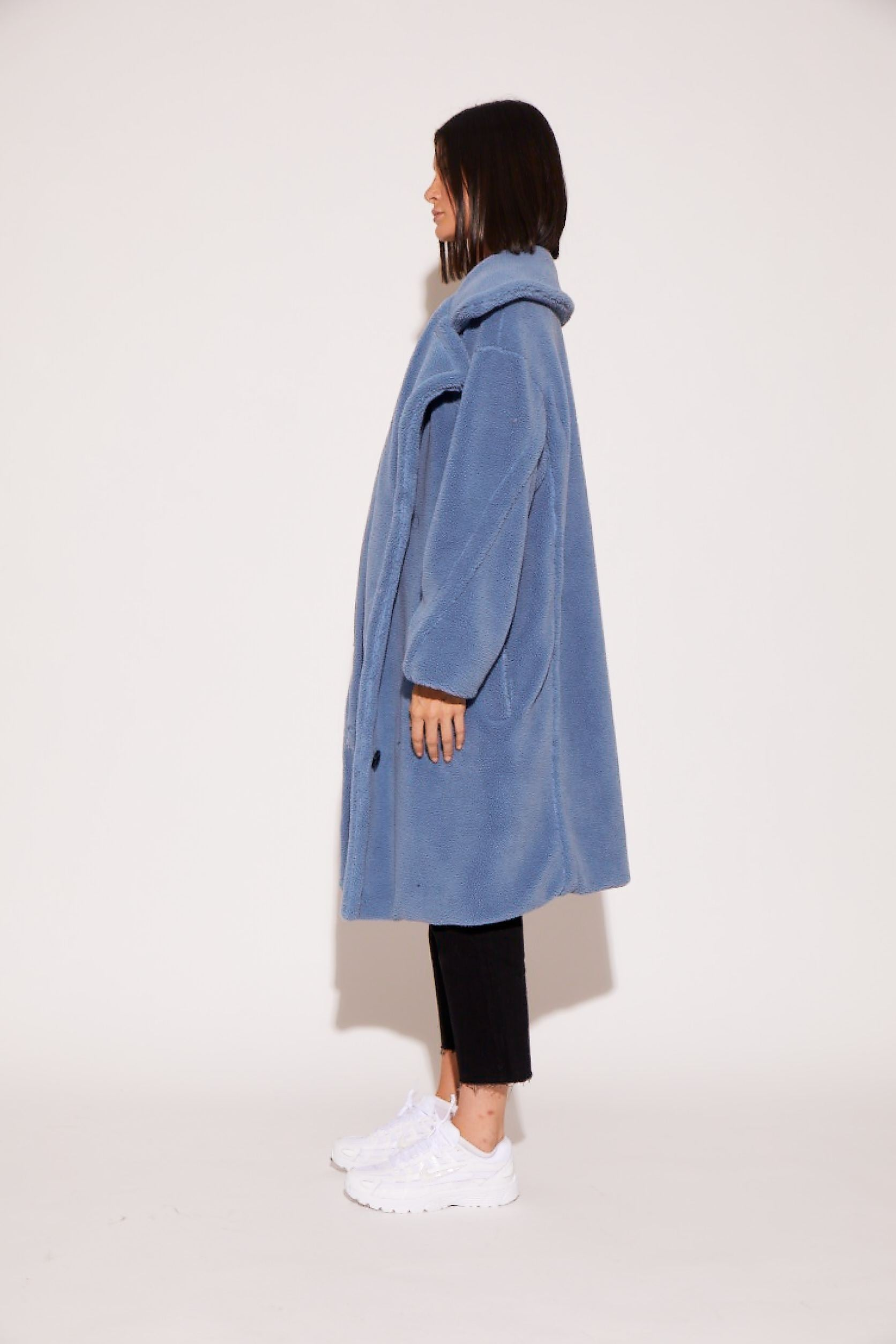 shaci teddy faux fur coat blue