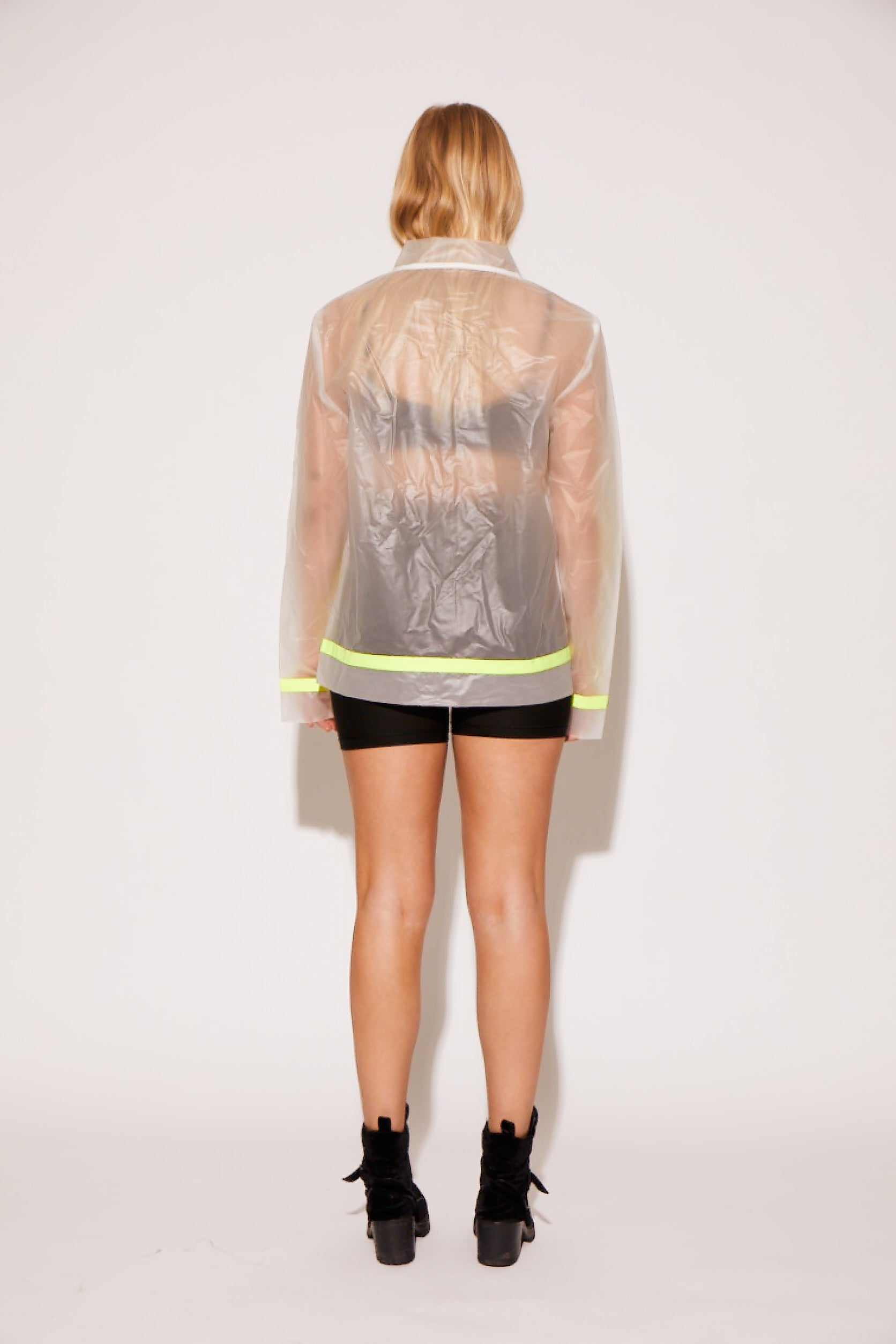 shaci transparent neon rain coat