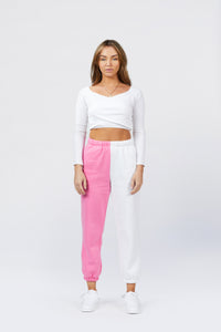 Two Tone Sweats - Pink/White