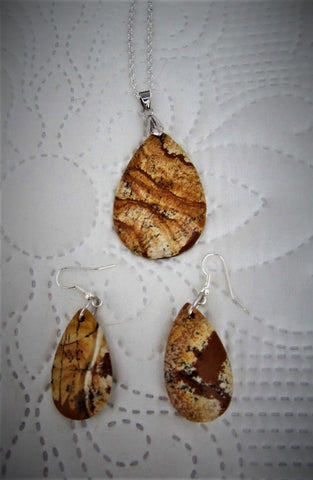 Jasper Pendant and Earrings
