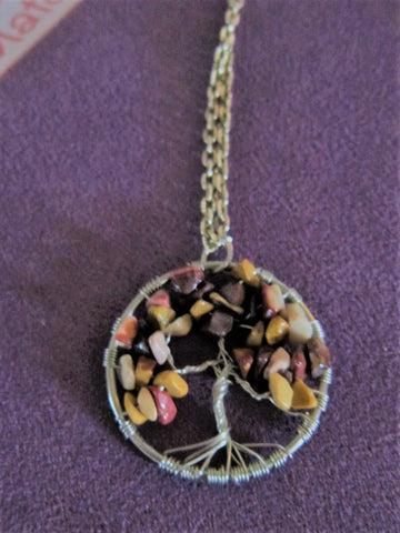 Multi Colored Stones Tree Of Life Necklace