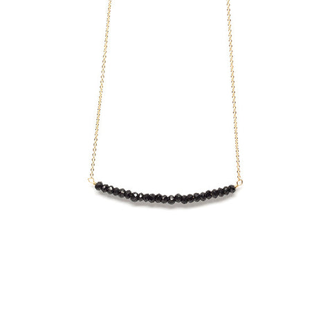 Beaded Bar Necklace // Black Spinel