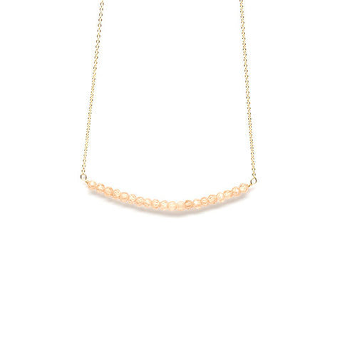 Beaded Bar Necklace // Champagne Zircon