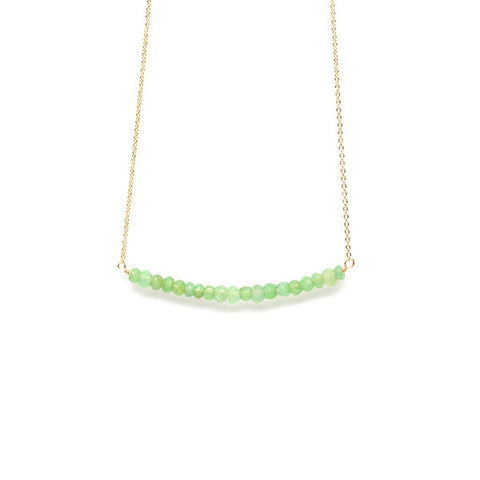 Beaded Bar Necklace // Chrysoprase