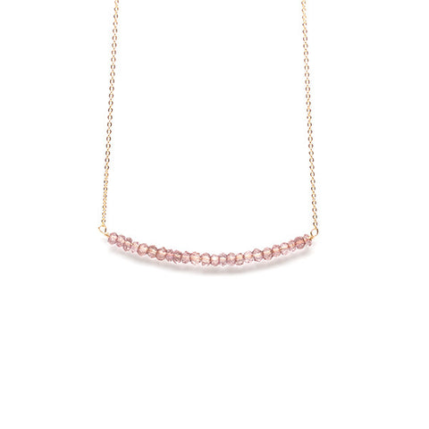 Beaded Bar Necklace // Dusty Rose Quartz