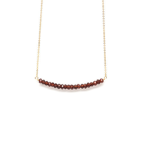 Beaded Bar Necklace // Garnet