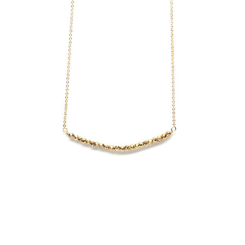 Beaded Bar Necklace // Gold Coated Pyrite
